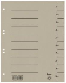 Trennblätter, A4, grau, Recycling-Karton 250g/m2