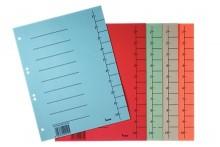 Trennblätter, A4, sortiert, Recycling-Karton 250g/m2