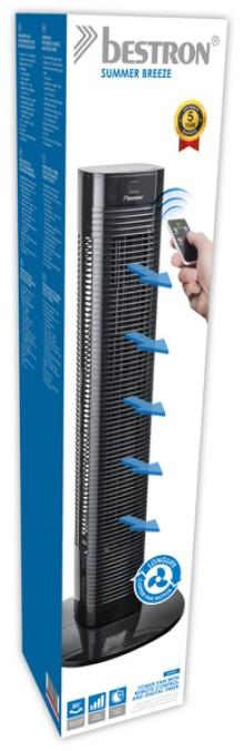 Säulenventilator, mit Fernbedienung schwarz, 3 Geschwindigkeiten, H: 75cm