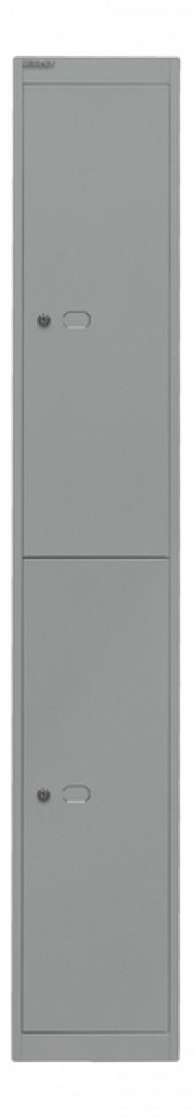 Garderoben- und Schließfachsystem, silber, 2 Fächer mit je einem