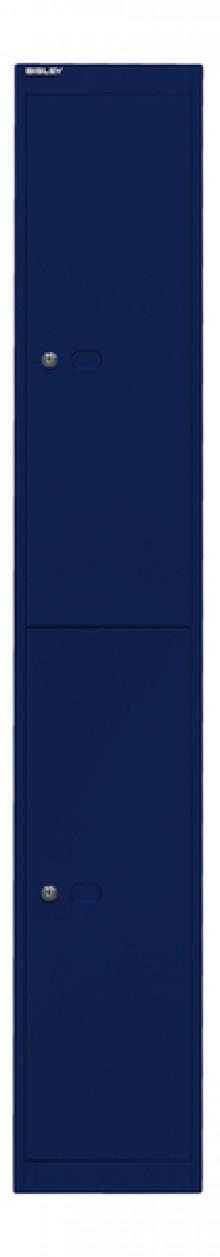 Garderoben- und Schließfachsystem, blau, 2 Fächer mit je einem