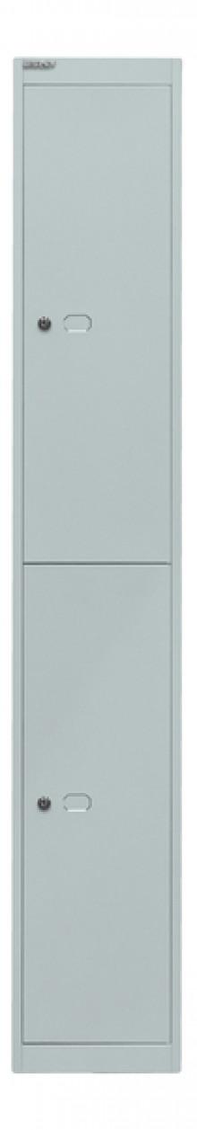 Garderoben- und Schließfachsystem, grau, 2 Fächer mit je einem