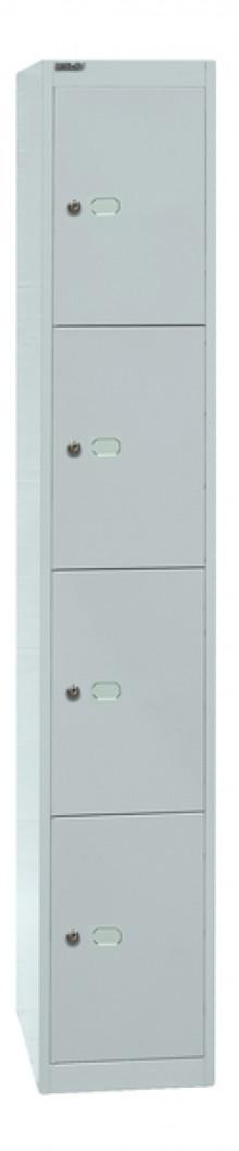 Garderoben- und Schließfachsystem, grau, 4 Fächer