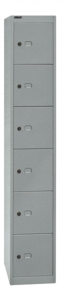 Garderoben- und Schließfachsystem, silber, 6 Fächer, 1802 x 305 x 457 mm