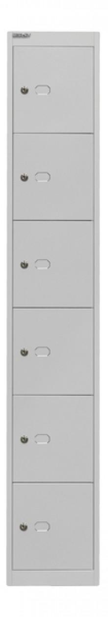 Garderoben- und Schließfachsystem, grau, 6 Fächer