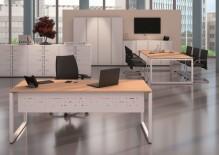 Schreibtisch Cito grau-weiß Gestell U silber, H 19 x B 2400 x T 1200 mm