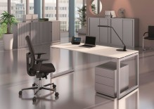 Cito Schreibtisch, 650-850 mm höhenverstellbar , buche/verkehrsweiß mittellang