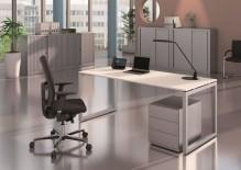 Schreibtisch Cito grau-weiß Gestell U silber, höhenverstellbar