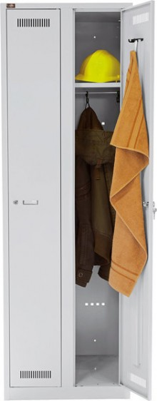 Garderobenschrank Light aus Stahl, komplett in Lichtgrau, 2 Abteile