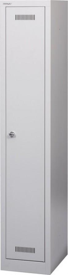 Garderobenschrank MonoBloc aus Stahl, komplett in lichtgrau, 1 Abteil