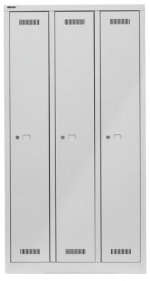 Garderobenschrank MonoBloc aus Stahl, komplett in lichtgrau, 3 Abteile