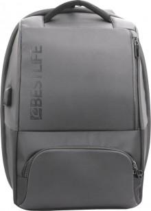 """Laptop Rucksack 15,6"""", Neoton TravelSafe, grau, diebstahlsicher, USB"""