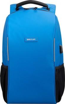 """Laptop Rucksack 15,6"""", Relleu TravelSafe, blau, diebstahlsicher, USB"""