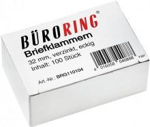 Büroring Briefklammern 32mm/100 verzinkt spitz-eckig