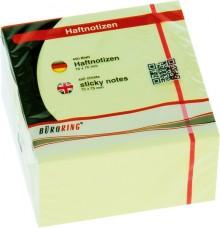 Büroring Haftnotiz FSC Würfel 75x75mm pastellgelb, 450 Blatt