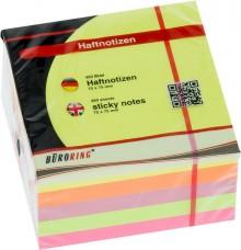 Büroring Haftnotiz FSC Würfel 75x75mm neon, 450 Blatt