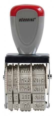 Datumstempel Schrifthöhe 4mm 25 x 4 mm, rot / grau