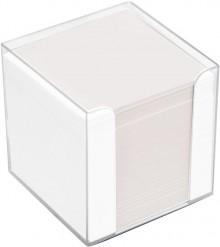 Büroring Zettelbox weiß Kunststoff, 9x9x9cm, weißes Papier