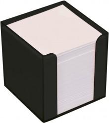 Büroring Zettelbox schwarz Kunststoff, 9x9x9cm, weißes Papier