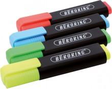 Büroring Textmarker, 4er Etui, mit Keilspitze 2-5mm, gelb,rot,grün,blau