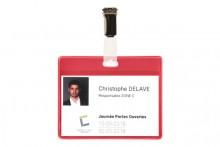 Büroring Besucher-Namensschild rot PVC, für Karten bis max. 69x99mm
