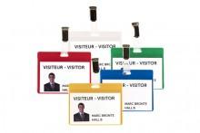 Büroring Besucher-Namensschild blau PVC, für Karten bis max. 69x99mm