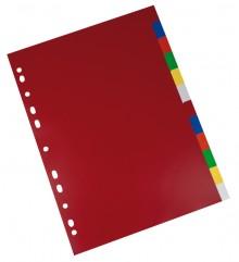 Büroring Register, A4, PP-Folie, 12-teilig, 2x6 Farben, 120 my