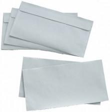 Briefumschlag, FSC, DIN Lang, Haft- klebung, weiß, 80g, mit grauen