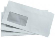 Büroring Briefumschlag, DIN Lang, mit Fenster Haftklebung, weiß, 80g