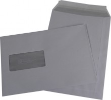 Versandtasche FSC ,C5, Haftklebung, mit Fenster, weiß, 90g, mit grauen
