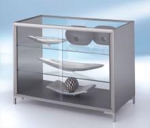 Thekenvitrine Dekor Silber mit 3-seitiger Verglasung