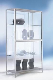 Standvitrine 1500 Dekor Silber mit vollverglastem Vitrinenteil
