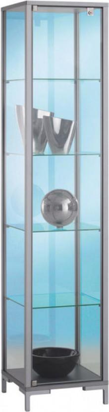 Standvitrine schmal Dekor Silber mit vollverglastem Vitrinenteil