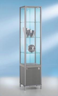 Staufachvitrine schmal Dekor Silber mit vollverglastem Vitrinenteil