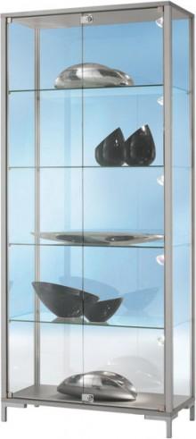 Standvitrine 800 Dekor Silber mit vollverglastem Vitrinenteil
