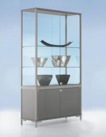 Staufachvitrine 800 Dekor Silber mit vollverglastem Vitrinenteil