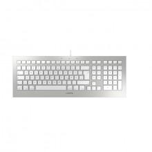 Tastatur Cherry Straight 3.0, f. Mac deutsch, silber, Kabelgebunden