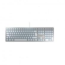 Tastatur Cherry KC 6000 Slim für Mac deutsch, silber, Kabelgebunden