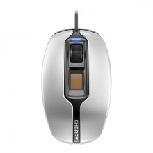 Mouse Gentix silent, kabelgebunden, silber/schwarz, Fingerabdrucksensor