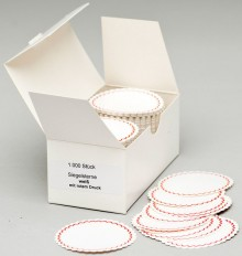 Siegelsterne weiß mit rotem Rand, Ø 50 mm, gum., gewellter Rand