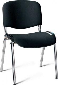 Besucherstuhl mit Chromgestell, sw gepolsterte Sitz- und Rückfläche
