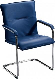 Besucherschwinger mit Chromgestell mit Komfortpolsterung, blau