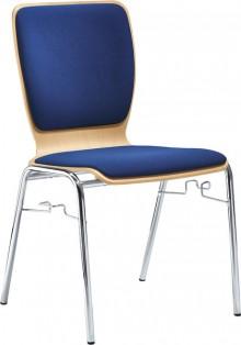 Besucherstuhl aus chromf. Stahl- Rohr, buche-blau gepolstert