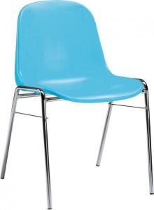 Besucherstuhl mit Chromgestell ergonomische Sitzschale, hellblau