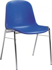 Besucherstuhl mit Chromgestell ergonomische Sitzschale, blau
