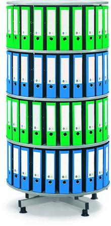 Deskin Ordner-Drehsäule 4 Etagen bis zu 96 Ordner, 800mm Ø x 1670mm Höhe
