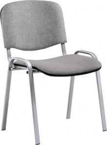 Besucherstuhl aus alusilberf. Stahl- rohr, grau gepolstert
