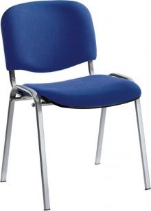 Besucherstuhl aus alusilberf. Stahl- rohr, blau gepolstert