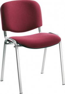 Besucherstuhl aus alusilberf. Stahl- rohr, bordeaux-rot gepolstert