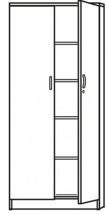 Flügeltürenschrank weiß inklusive 5 Holz-Fachböden